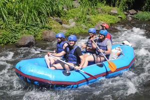 White water rafting along the Telaga Waja River.