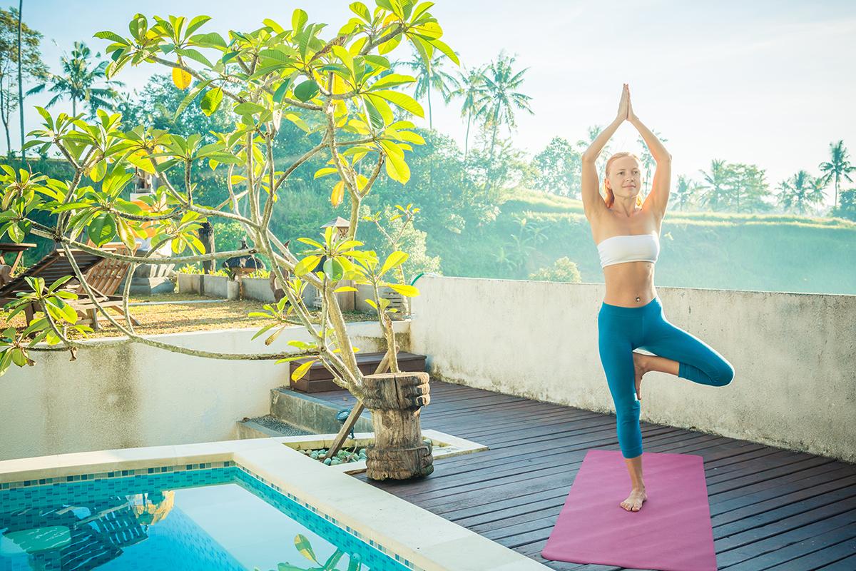 Woman doing yoga ubud